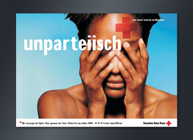 Deutsches Rotes Kreuz DRK Kopf Pflaster traurig schmerzen Gestaltung Mattheis Werbeagentur Berlin