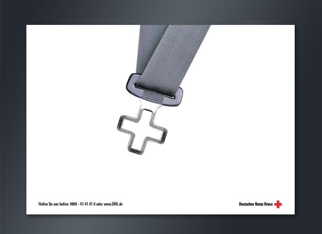 Anzeigenkampagne Deutsches Rotes Kreuz Helfen Anrufen Sicherheitsgurt Kreativ Mattheis Werbeagentur Berlin