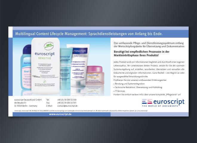 Anzeigenkampagne Euroscript Markteintrittsphase empfindlich Prozess Produkt mattheis. Werbeagentur Berlin