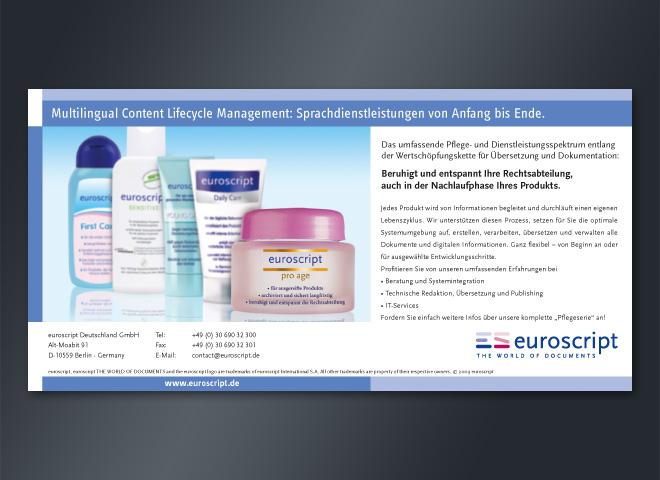 Anzeigenkampagne Euroscript Anzeige Produkt Nachlaufphase Rechtsabteilung Creme Kosmetik mattheis. Werbeagentur Berlin