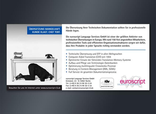 Anzeigenkampagne Euroscript Übersetzung Kunde Chef Anzeige mattheis. Werbeagentur Berlin