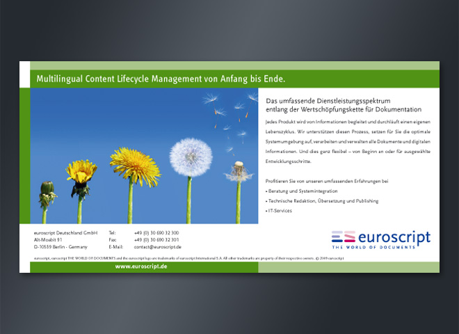 euroscript Language Multilingual Content Management Documents World Anzeige mattheis. Werbeagentur Berlin