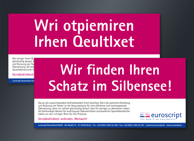eurosrcipt Language Serivces Quelltext optimieren Übersetzung Silbe Schatz schnelle hilfe mattheis. Werbeagentur Berlin