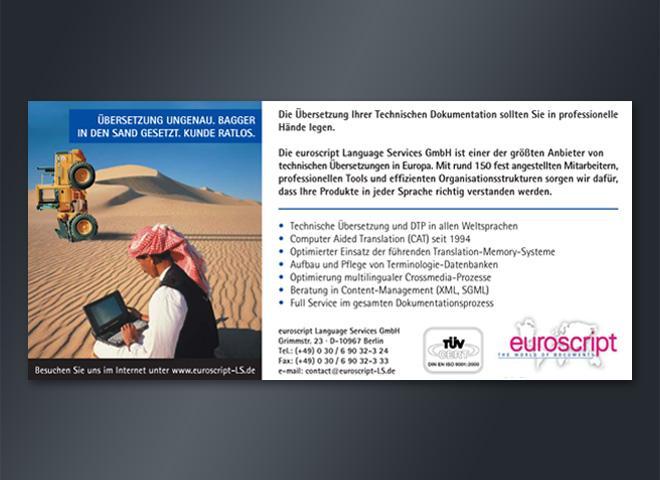 euroscript Language Services Wüste Mann Laptop Bagger Kunde Überstzungen Fachtexte Gestaltung mattheis. Werbeagentur Berlin