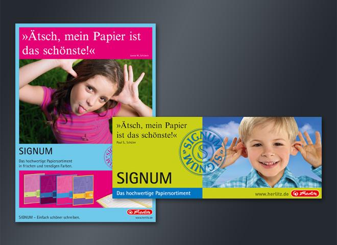 Herlitz Signum Papier huchwertig Qualität Anzeige Gestaltung mattheis. Werbeagentur Berlin