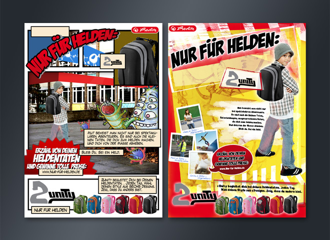 Herlitz Bürobedarf Schreibwaren Rucksäcke Markenhersteller Anzeige Idee mattheis. Werbeagentur Berlin