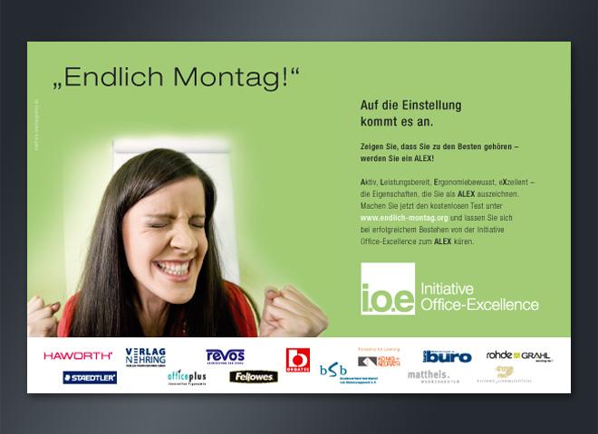 Anzeige Querformat IOE Montag Endlich Gestaltung Mattheis Werbeagentur Berlin