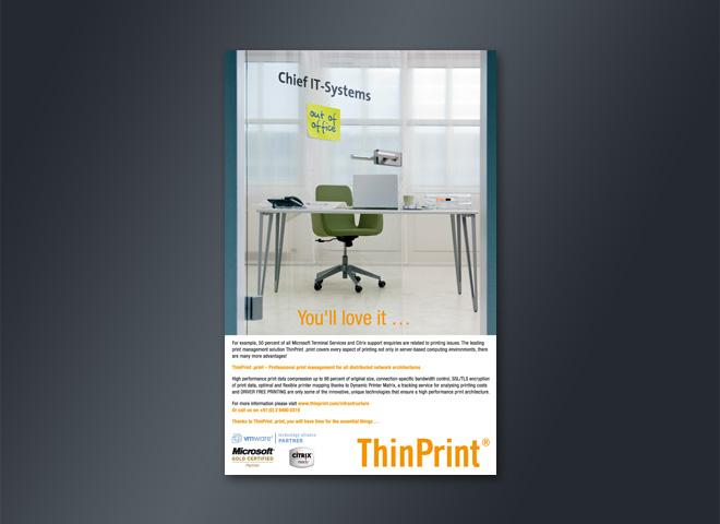 Thin Print Chief IT-Systems Büro Arbeitsplatz Gestaltung mattheis. Werbeagentur Berlin