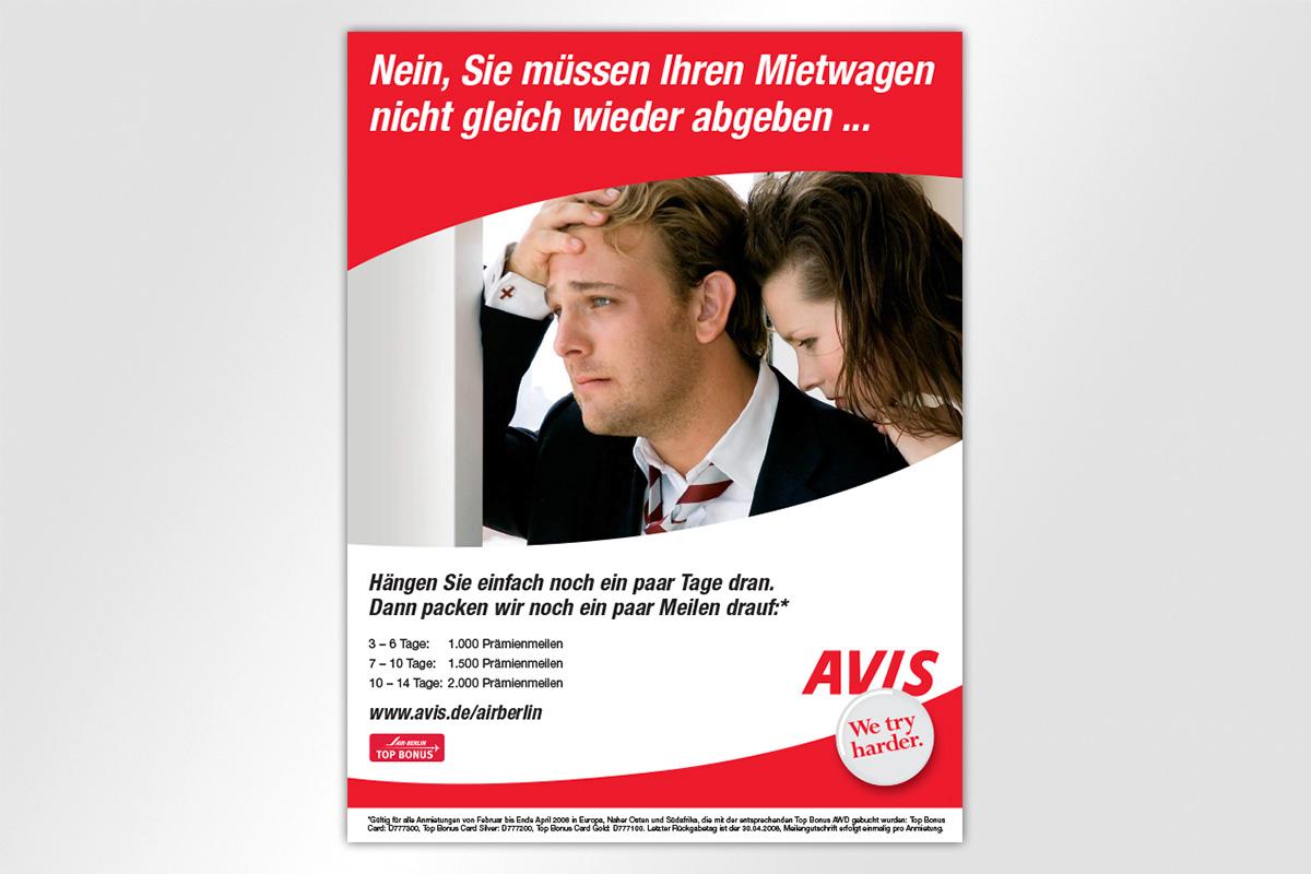 Anzeigenkampagne Berliner Luft Avis Autovermietung Mietwagen Kilometer Meilen Gestaltung mattheis. Werbeagentur Berlin