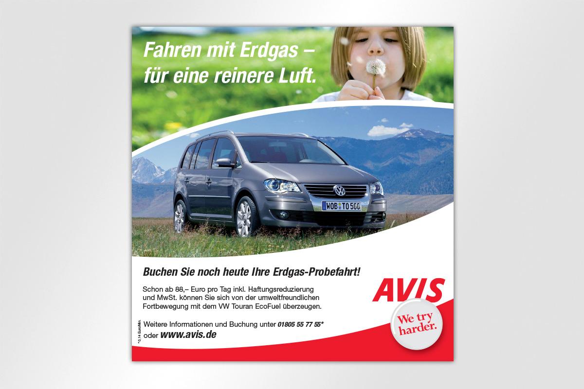Anzeigenkampagne Berliner Luft Avis Autovermietung Mietwagen SEAT Auto Langschaft Berge Gestaltung mattheis. Werbeagentur Berlin