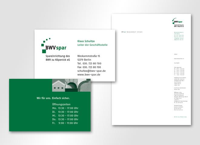 BWV spar Visitenkarte Briefbogen Vermietung Wohnungen mieten kaufen sparen Gestaltung mattheis. Werbeagentur Berlin