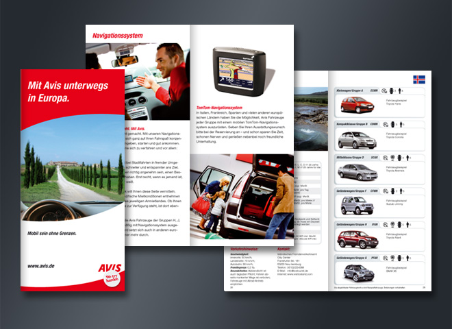 Avis Autovermietung Europa Navigationssystem Mobil Mietwagen Fahrzeug PKW Mattheis Werbeagentur Berlin