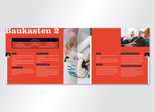 Domizil Mietermagazin Hausverwaltung Baukasten rot Adressspeicher Business Veredelung Mattheis Werbeagentur Berlin
