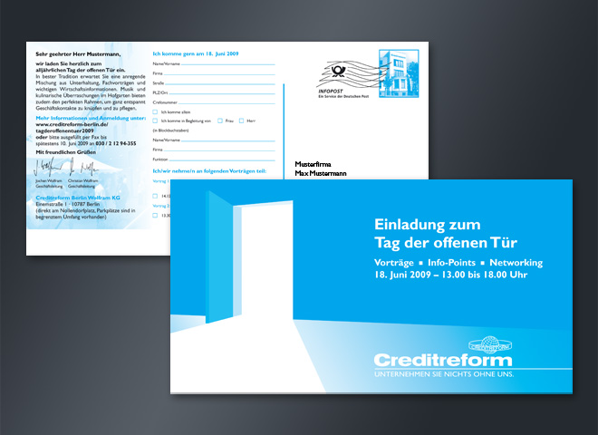 creditreform Tag offene Tür Postkarte mattheis werbeagentur berlin
