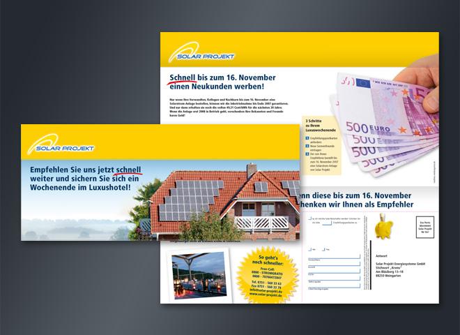 Solarprojekt Mailing weiterempfehlen Postwurf Gestaltung Mattheis Werbeagentur Berlin