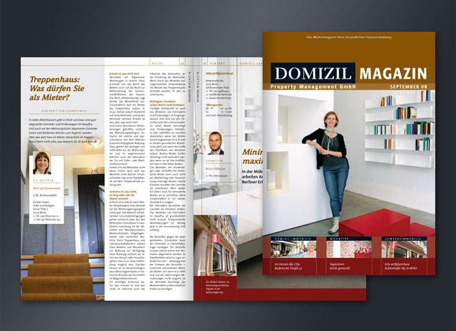 Domizil Hausverwaltung Magazin Treppenhaus Nachbarschaft Kozenption Gestaltung Mattheis Werbeagentur Berlin