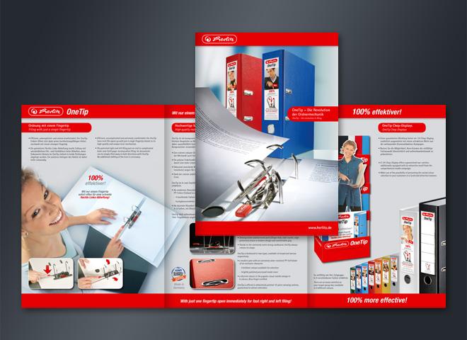 herlitz Bürobedarf Schreibwaren Markenhersteller Faltblatt One Tip Ordner einfach Gestaltung mattheis werbeagentur berlin