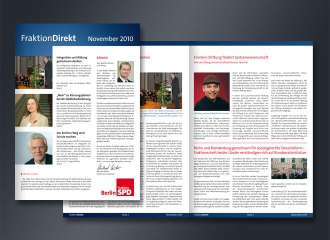 SPD Fraktion Direkt Einstein-Stiftung Spitzenwissenschaft Magazin Gestaltung Mattheis Werbeagentur Berlin