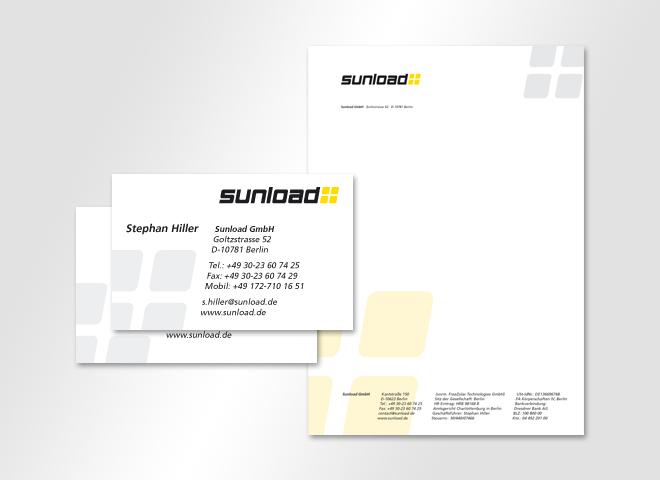 Sunload GmbH –Sunload Strom Solar Visitenkarte Briefbogen Corporate Design Gestaltung mattheis werbeagentur Berlin
