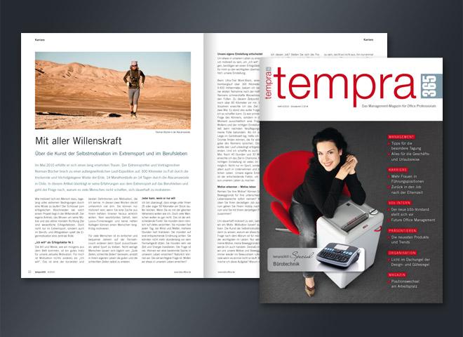 Tempra Magazin Managment-Magazin Office Professionals Umsetzung Gestaltung mattheis. Werbeagentur
