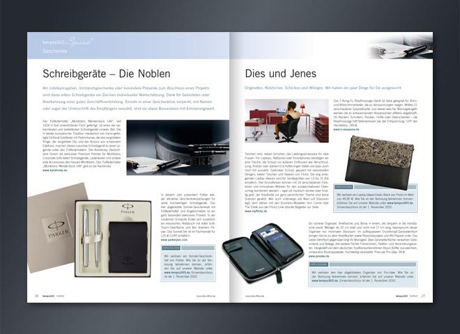 Tempra 365 Magazin edle nobel Füller Kugelschreiber Visitenkarten Ettui Doppelseite Umsetzung Gestaltung mattheis. Werbeagentur