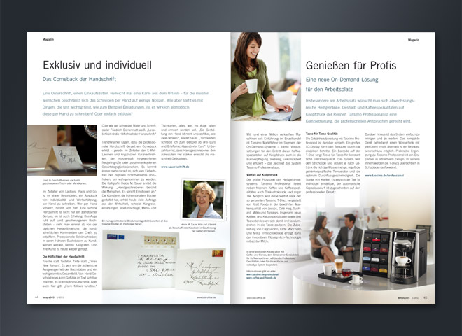 Tempra 365 Magazin Kaffeemaschine Handschrift On-Demant-Lösung Comeback Umsetzung Gestaltung mattheis. Werbeagentur