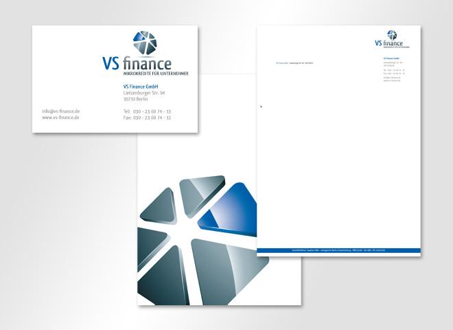 VS Finance GmbH – Vistenkarte Briefbogen Corperate Design Kredite Bank Gestaltung mattheis werbeagentur Berlin
