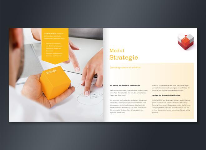 Wolff Consulting Broschüre Doppelseite Modul Strategie Marketinerfolg Gestaltung Mattheis Werbeagentur Berlin