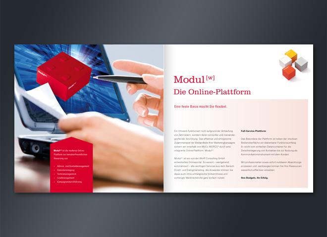 Wolff Consulting Online Plattfor Doppelseite Marketingerfolg Borschüre Gestaltung Mattheis Werbeagentur