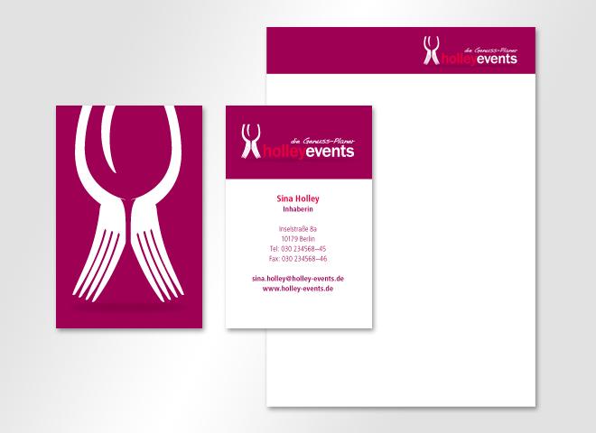 Visitenkarte Briefbogen Holley Events Genuss Veranstaltungen Restaurant Idee Mattheis Werbeagentur Berlin