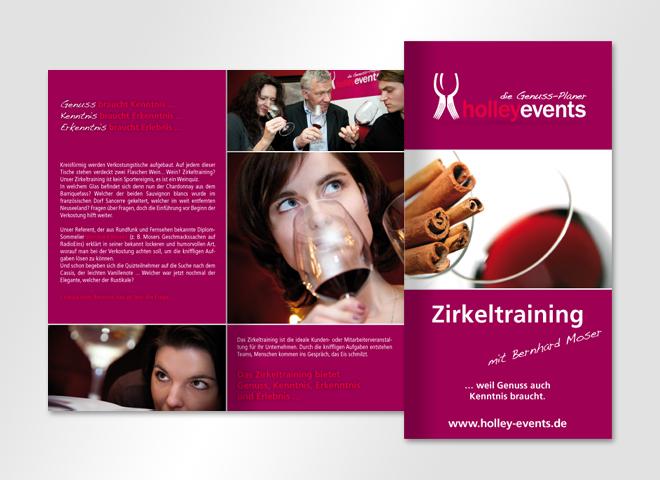 Flyer Gestaltung Entwurf Holley Events Genuss Veranstaltungen Restaurant mattheis Werbeagentur Berlin
