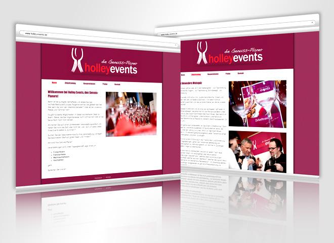 Website Holley Events Genuss Planer gestaltet Mattheis Werbeagentur Berlin