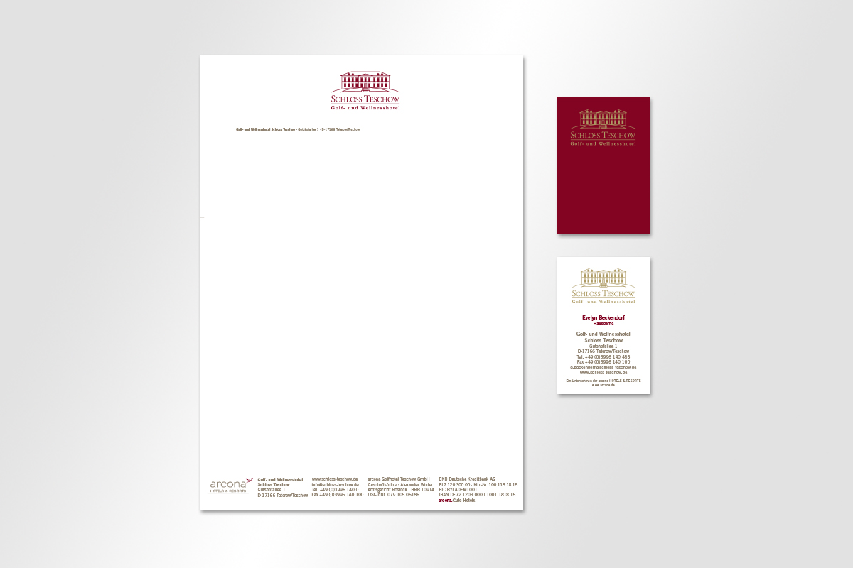 Arcona Schloss Teschow Visitenkate Briefbogen Corporate Design Gestaltet Mattheis Werbeagentur Berlin