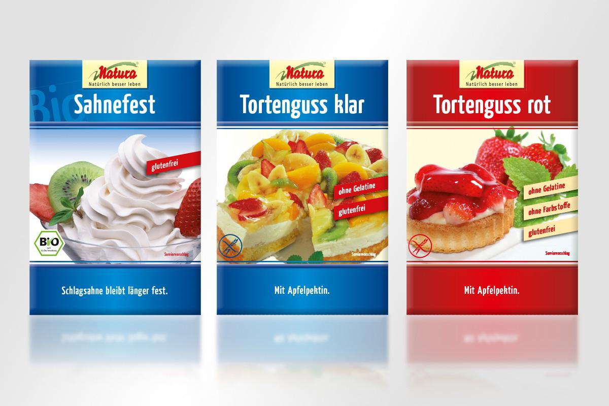 Verpackungsdesign Mattheis Werbeagentur Berlin Sahnefest Tortenguss Naturawerk