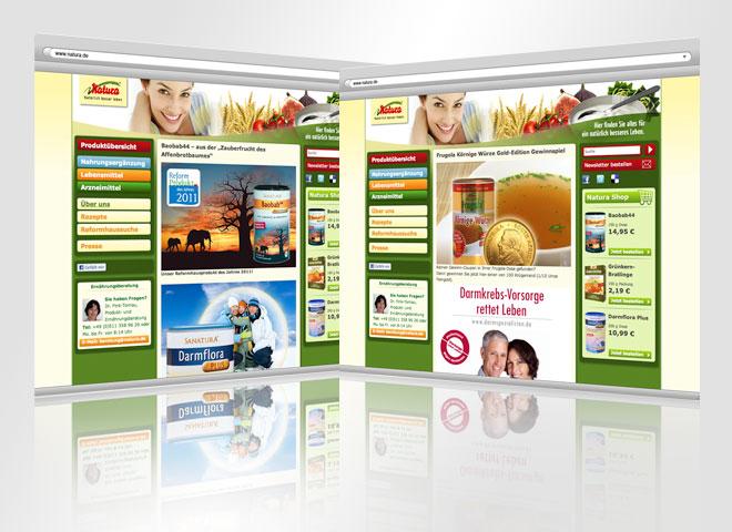 Natura Website Webshop online kaufen gesunde Produkte umgesetzt Mattheis Werbeagentur Berlin