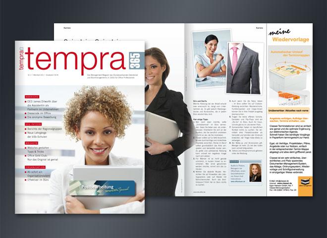 Tempra Magazin Titelseite Doppelseite gestaltet Mattheis Werbeagentur Berlin