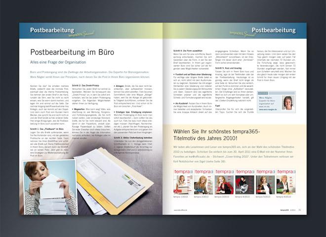 Tempra Magazin Doppelseite Postbearbeitung im Büro gestaltet Mattheis Werbeagentur Berlin