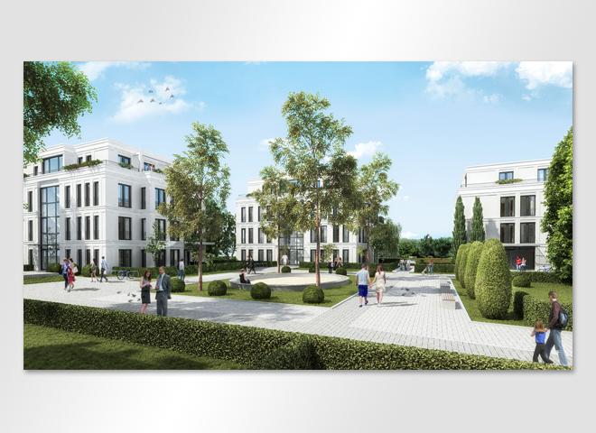 Villenpark Hirschgartenufer 3D-Visualisierung Zentraler Platz