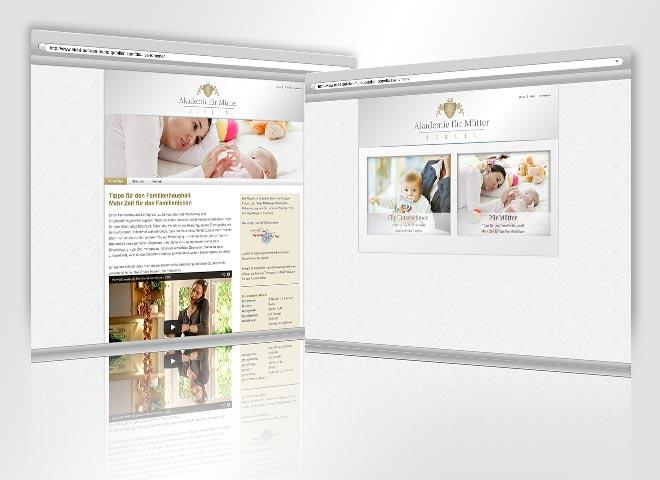 Akademie Website Mütter Kinder Berufsleben Erfolgreich Management Haushalt Hausfrau Gestaltung Konzeption Website Mattheis Werbeagentur Berlin