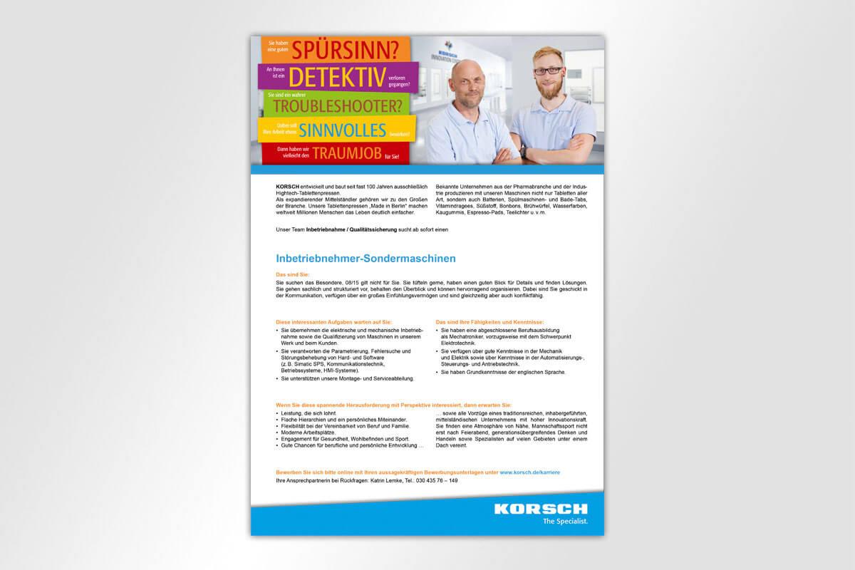 Anzeige Stellenangebote KORSCH AG 2018 | Mattheis Werbeagentur Berlin