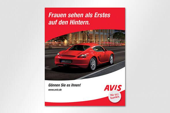 Anzeigenkampagne Avis Porsche
