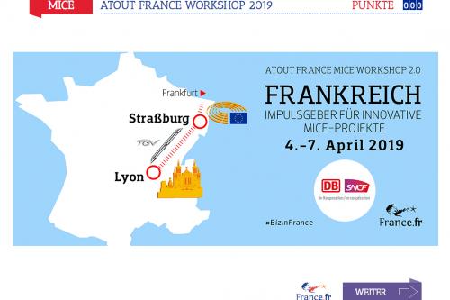 Startbild Gamification Atoutfrance und MICE-Branche
