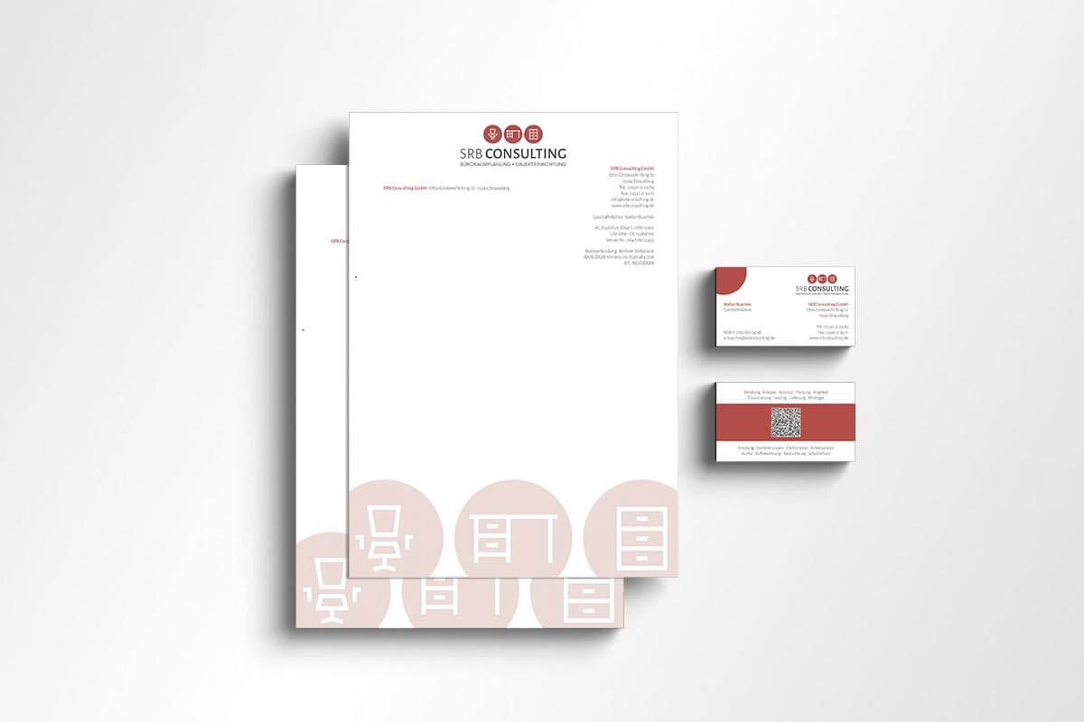 Corporate Design SRB Consulting – Briefbogen und Visitenkarte | Mattheis Werbeagentur