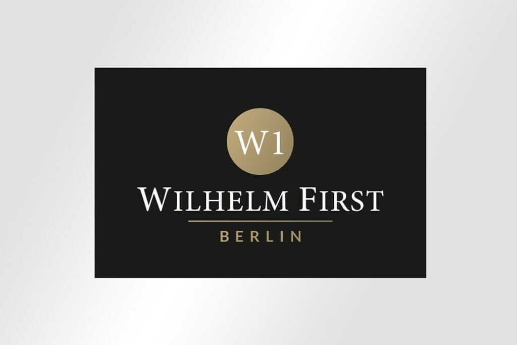 Corporate Design Immobilienmarketing eldes Logodesign für Wilhelm First Berlin