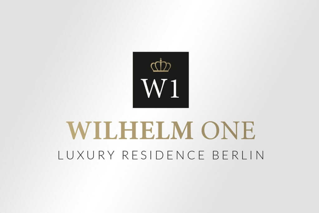 Corporate Design Immobilienmarketing edles Logodesign für Wilhelm One luxury residence Berlin