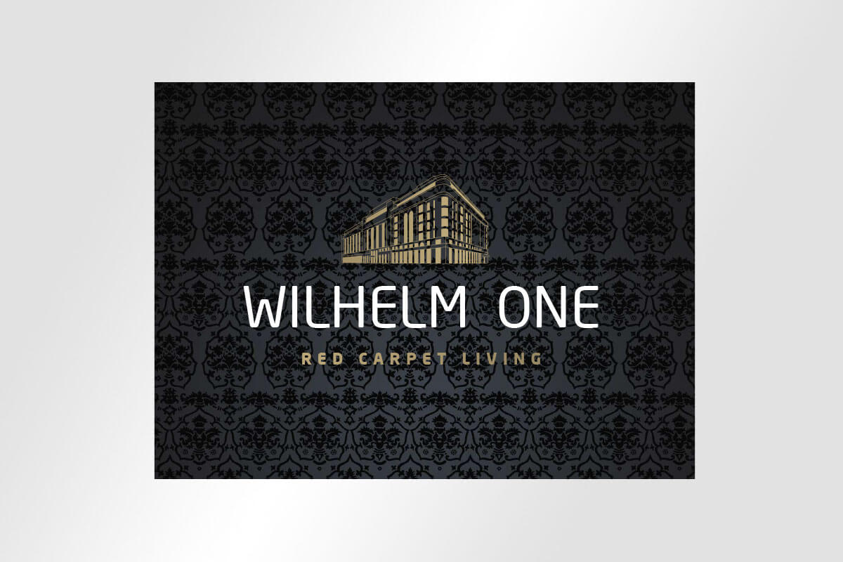 Corporate Design Immobilienmarketing schickes Logodesign für Wilhelm One red carpet living mit barockem hintergrundmuster