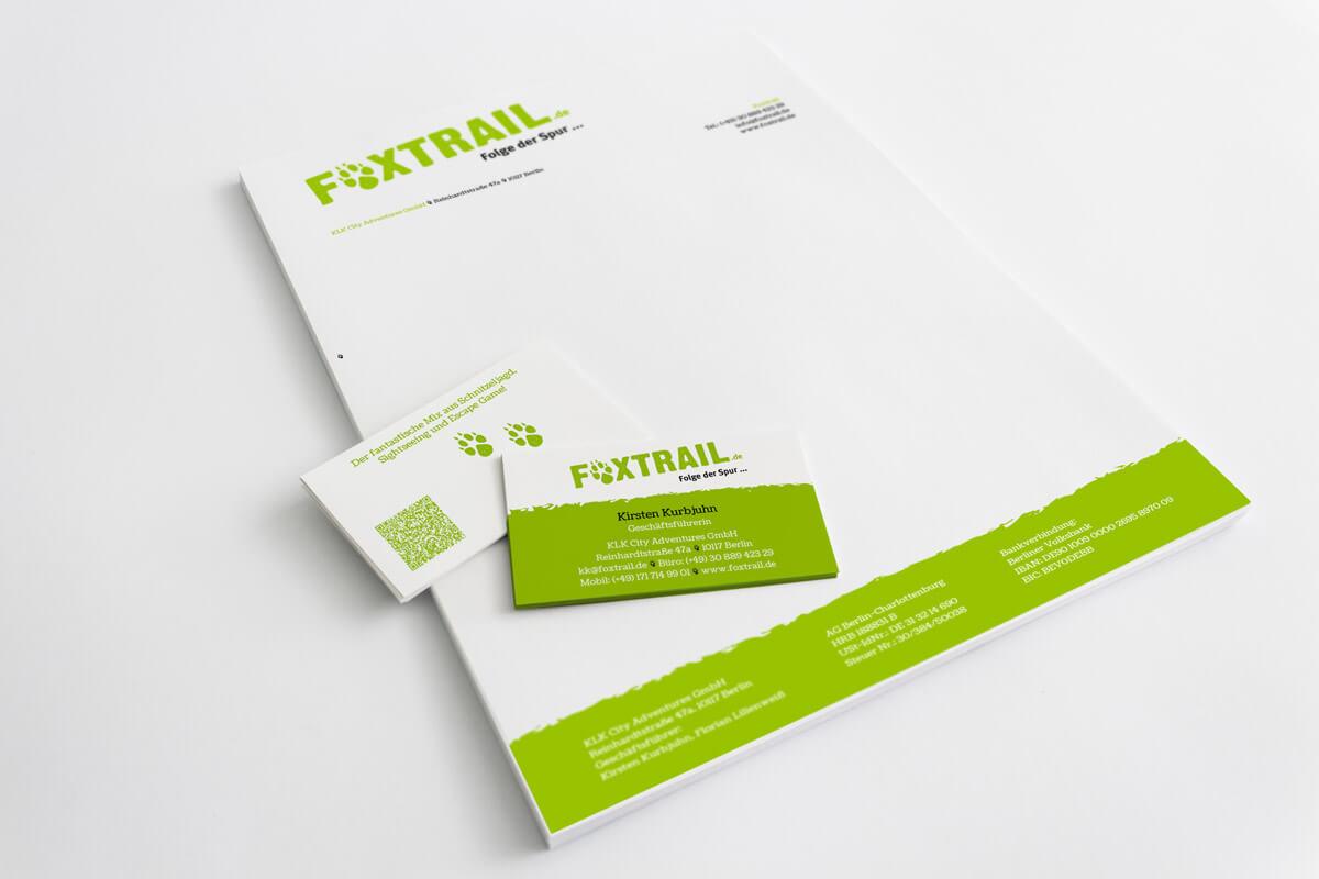Corporate Design Foxtrail– Briefbogen und Visitenkarte | Mattheis Werbeagentur