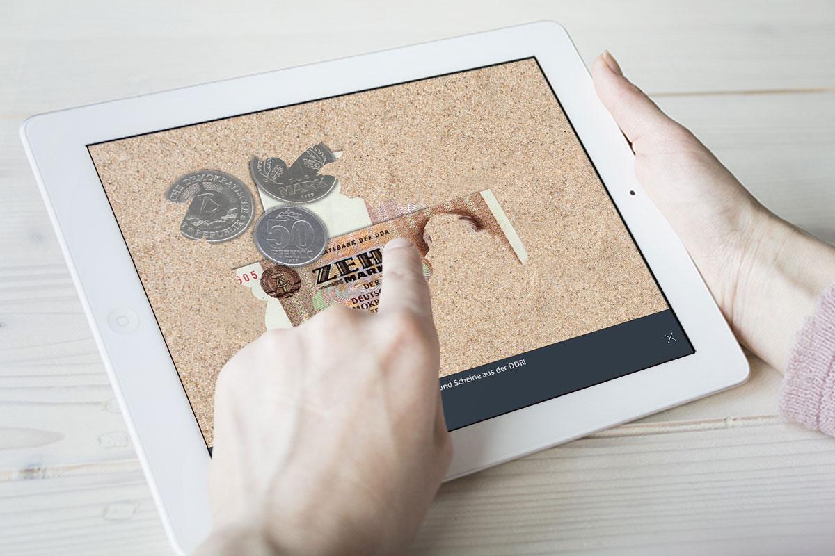 DDR-Geld freiwischen in der Buch-App Gift der Republik