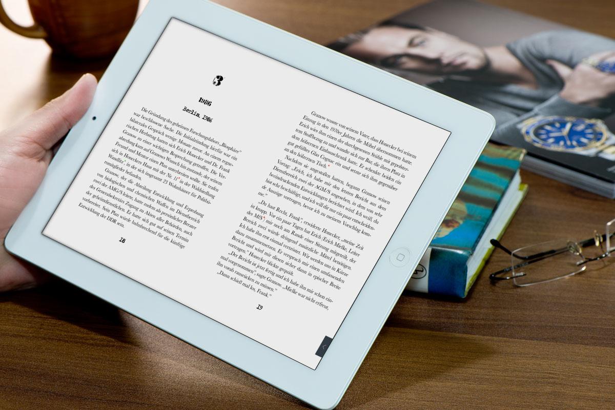 Buch-App Gift der Republik – Thriller lesen auf dem Tablet