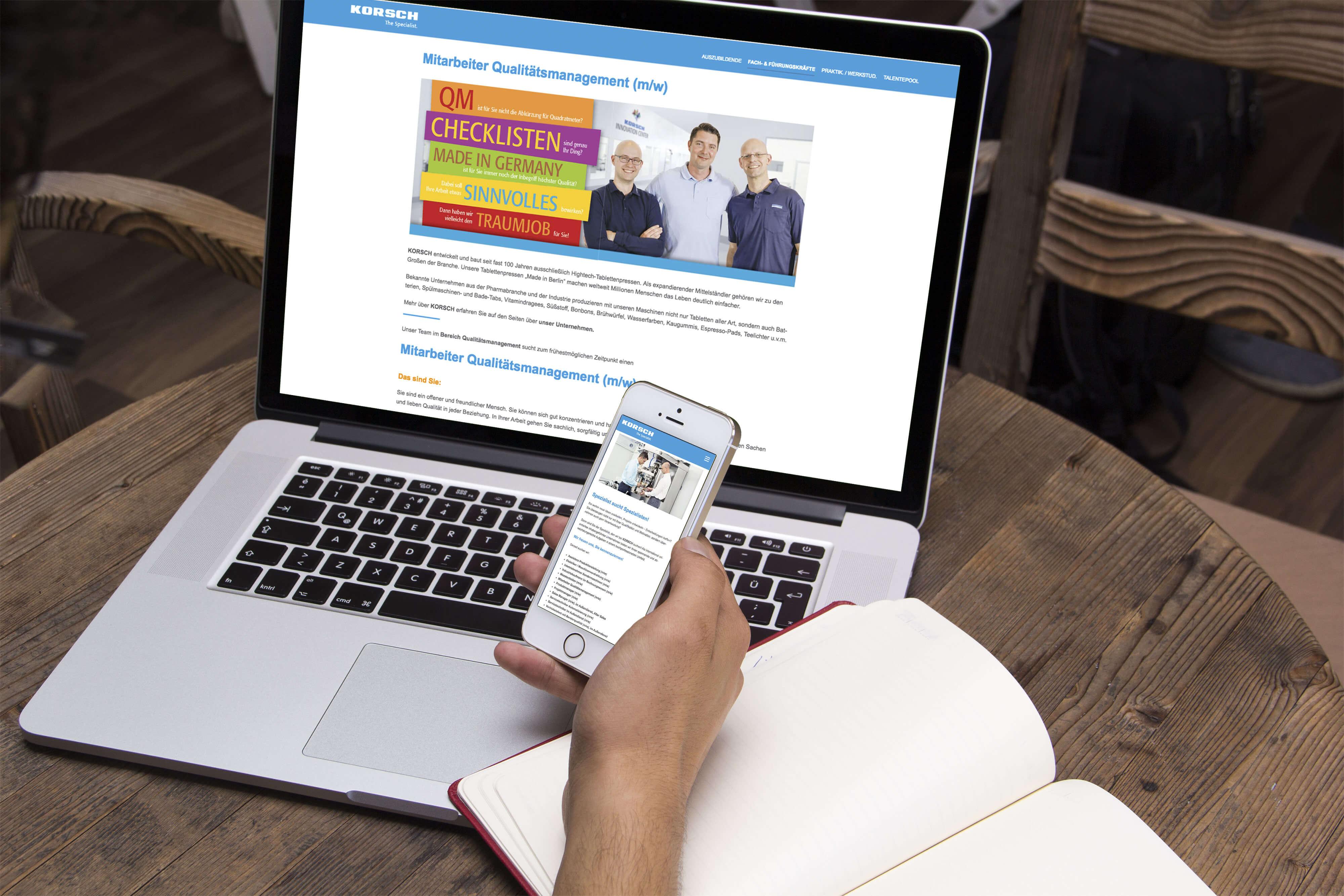 Webdesign KORSCH AG Stellenanzeige | mattheis Werbeagentur